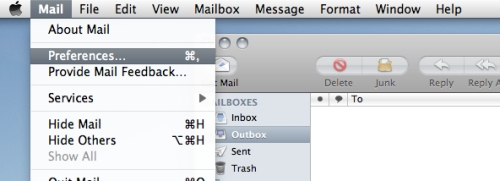 Mac Mail Preferences Menu