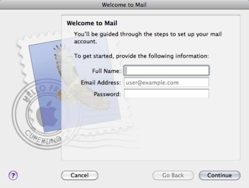 Mac Mail Setup Wizard - Step 1
