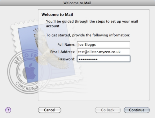 Mac Mail Setup Wizard - Step 2